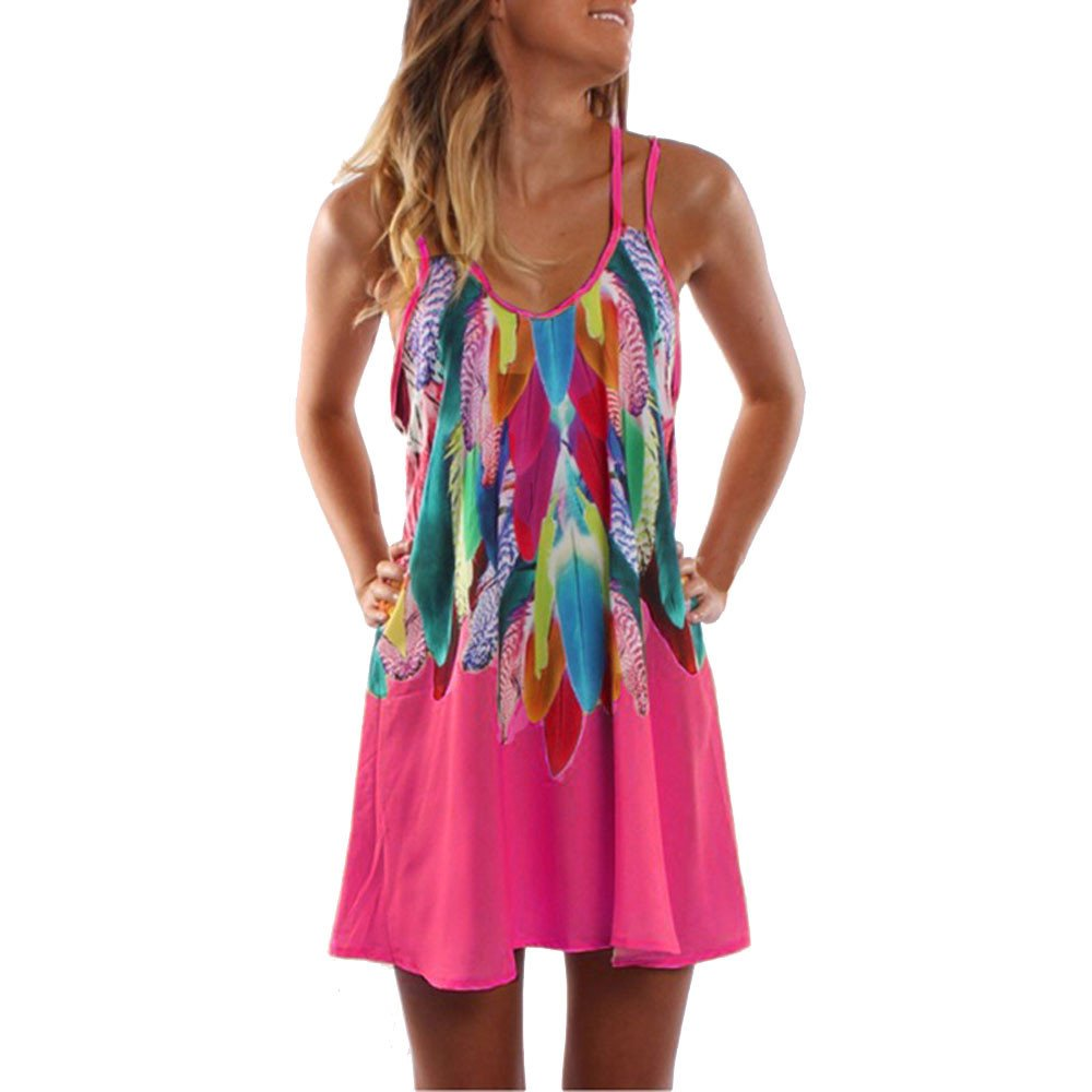Women Summer Boho Sundress Printed Sleeveless Spaghetti Strap Party Cocktail Beach Dress Hot Pink