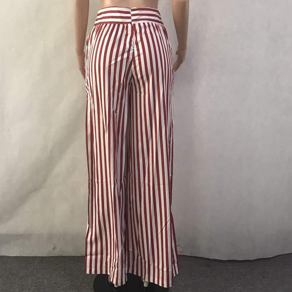 VEZAD Women Striped High Waist Harem Pants Women Bandage Elastic Waist Casual Pants