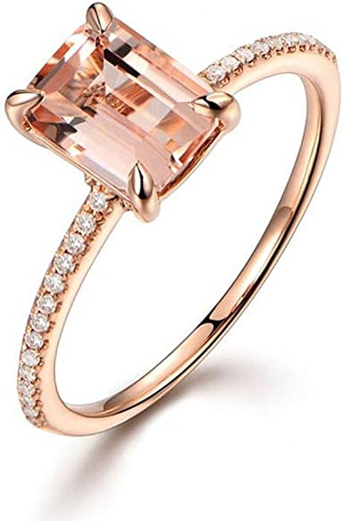 Fashion Engagement Ring Wedding Rose Gold Plated Clear Crystal Size 9 YG
