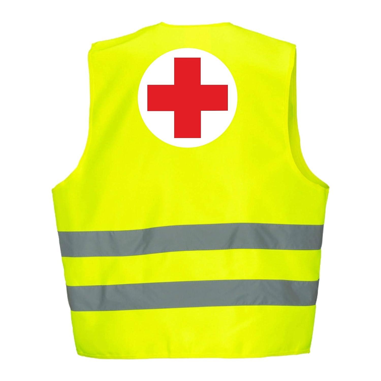 Rotes-Kreuz 5er Paket Warnweste GELB Sicherheitsweste Weste Rotes-Kreuz