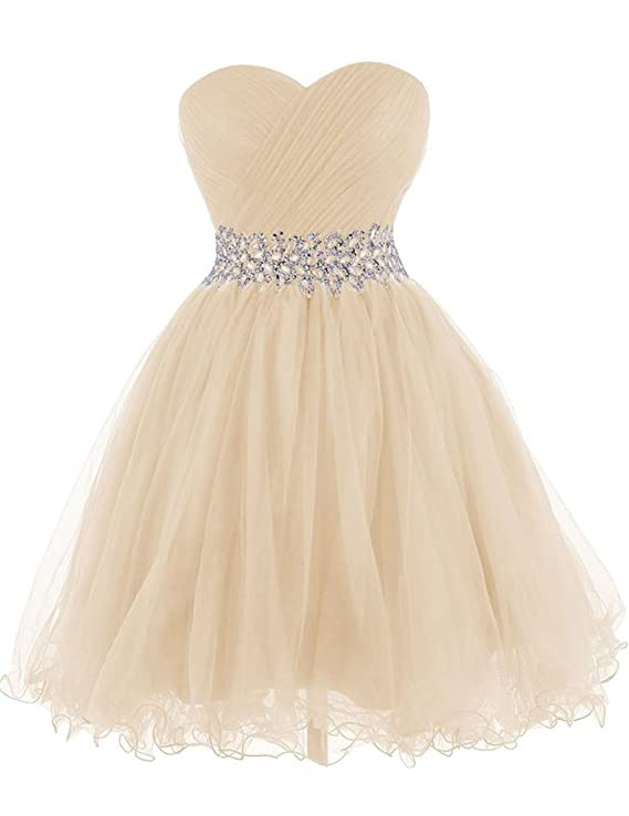 Review Cdress Tulle Short Homecoming Dresses Crystal Beads Junior Sweetheart Cocktail Prom Gowns