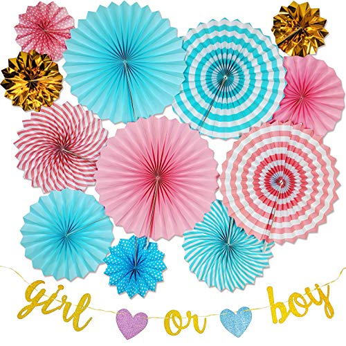- Best Ever Moments Gender Reveal Party Supplies. Decoration Party Set of 12 Pink, Blue, Gold Paper Fans Rosettes. Gold Girl Or Boy Banner. Perfect for a Baby Shower. No Helium Required. Eco Friendly
