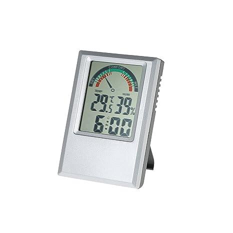 Qotone °C /°F Termómetro digital Higrómetro Temperatura Medidor de humedad Reloj de alarma