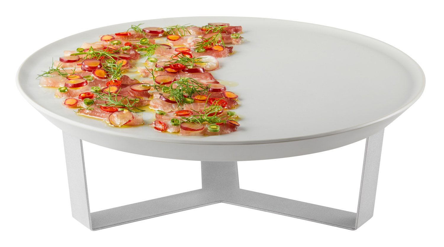 Rosseto SM277 Forme Melamine Tray and 4' Riser Set, Round, Ivory (Pack of 2) Rosseto - BISS
