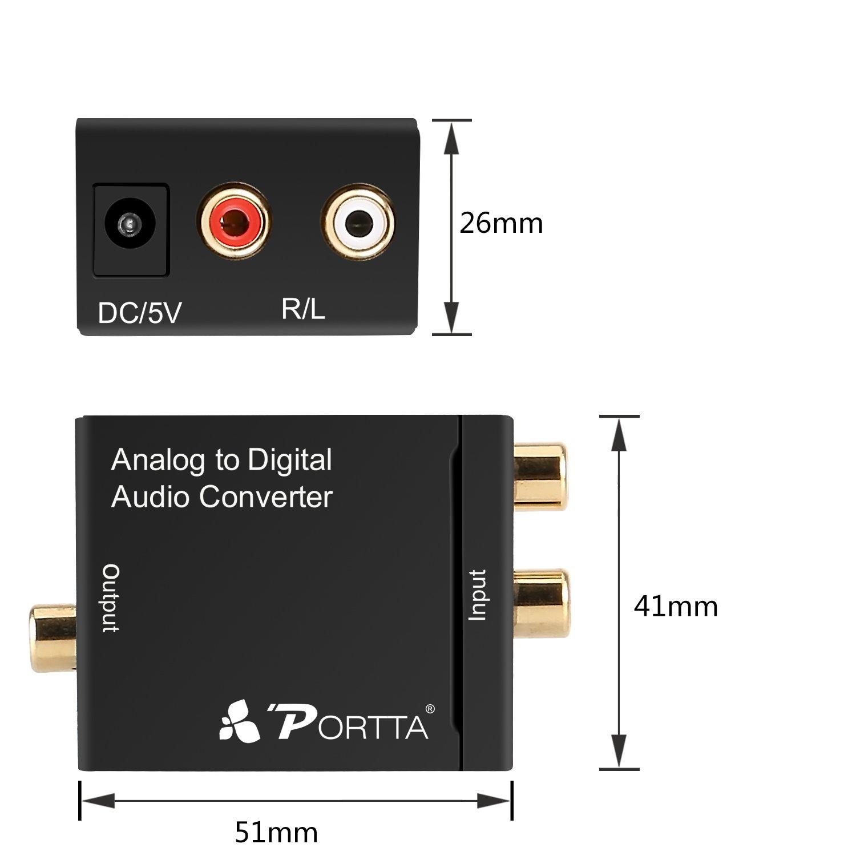 Portta Audio Convertidor Analógico RL RCA Audio a Digital Coaxial o Toslink Soporte 2 canales LPCM CH2.0 para reproductor de DVD Speaker speaker, ...