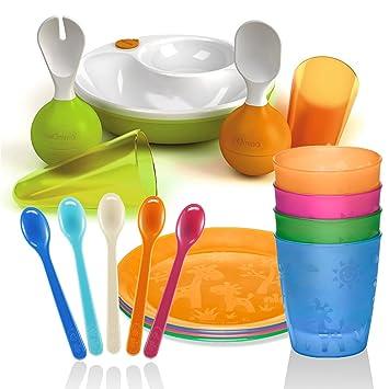 Lansinoh mOmma Lernset Warmhalteteller L/öffel /& Gabel Steh-auf-Funktion /& nip Trinkbecher 4er Pack BPA frei
