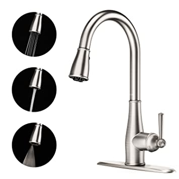 Full Copper Kitchen Faucet 3 Function Spray Single Handle High Arc