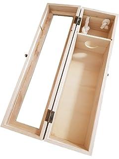 KINGTOP Caja de Vino, Madera Caja Portadora Madera para Vino Caja botellero con Ventana Transparente Decoración…