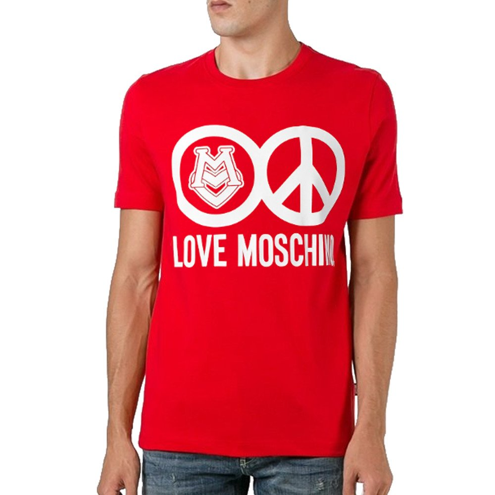 MOSCHINO Love Peace Circle Logo T-Shirt, Red (XL)