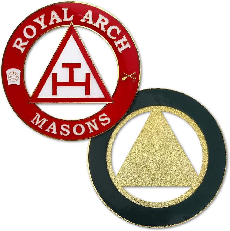 Masonic Royal Arch Car Emblem Round Red Auto Decal