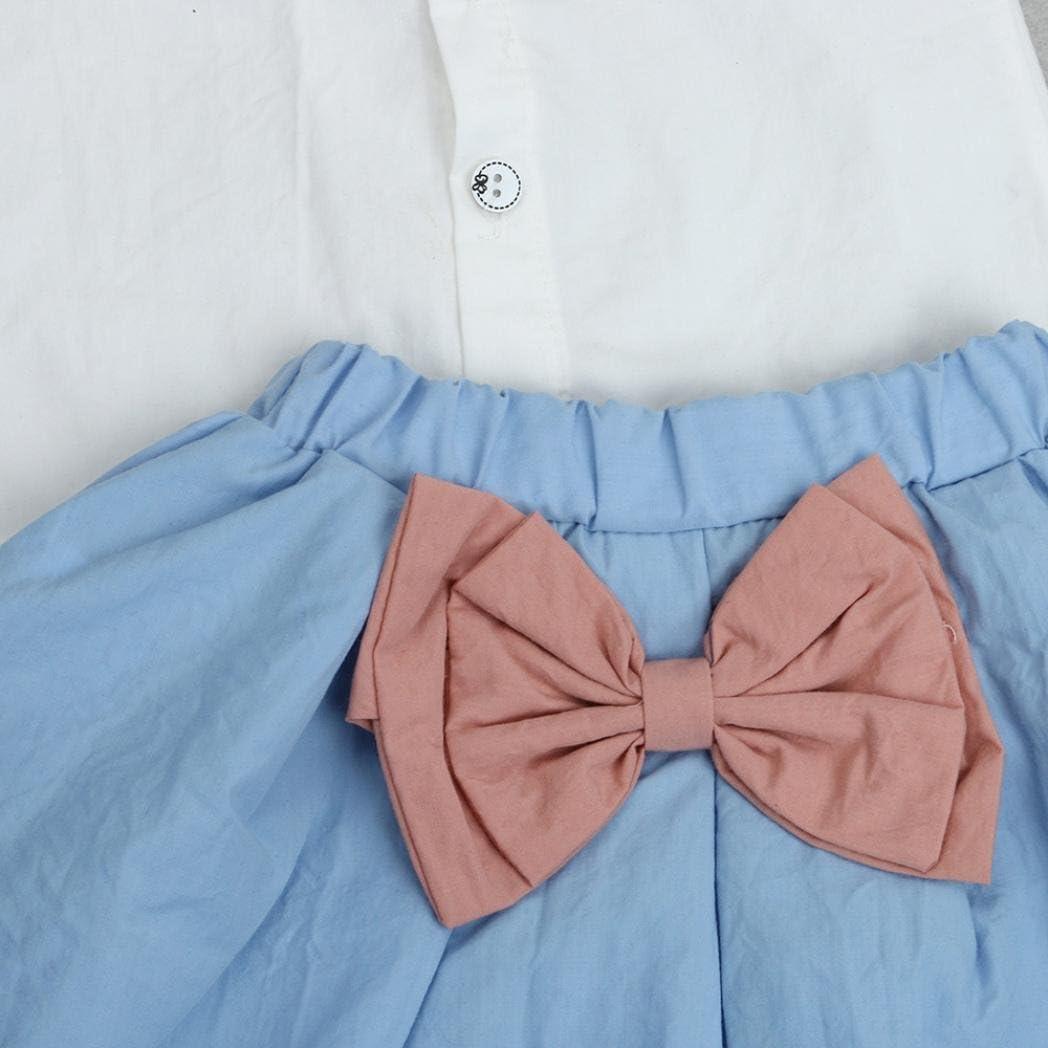 LNGRY 2PCS Toddler Kids Baby Girls Outfits Vest T-Shirt+Bowknot Short Skirt Set