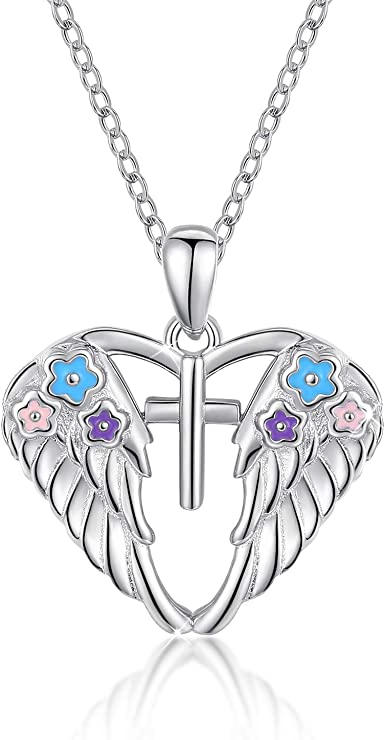 Mother/'s Day Gifts Angel Wings Necklace With Chain Religious Gifts Silver Angel Necklaces Night Angel Necklace Religious Men/'s Pendant