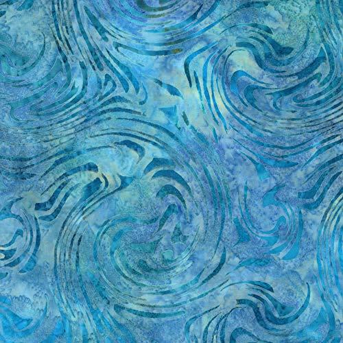 Robert Kaufman Artisan Batiks Aqua Spa 3 Swirl Blue
