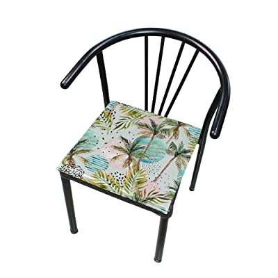 """Bardic HNTGHX Outdoor/Indoor Chair Cushion Palm Tree Circle Painting Square Memory Foam Seat Pads Cushion for Patio Dining, 16"""" x 16"""": Home & Kitchen"""