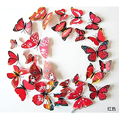 Amaonm 60 Pcs 5 Packages Beautiful 3D Butterfly Wall Decals Removable DIY Home Decorations Art Decor Wall Stickers & Murals for Babys Bedroom Tv Background Living Room (Red): Home Improvement [5Bkhe1807422]
