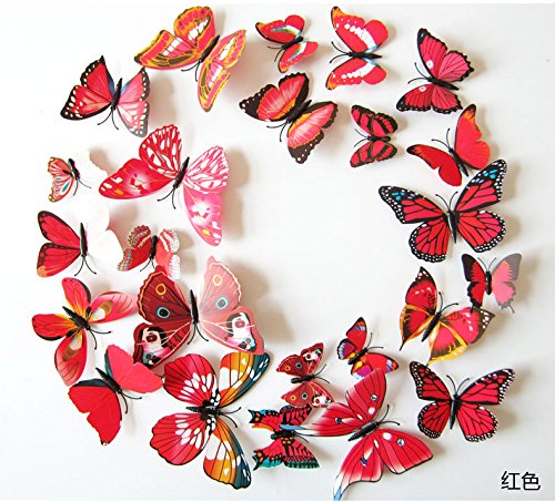 (Amaonm 60 Pcs 5 Packages Beautiful 3D Butterfly Wall Decals Removable DIY Home Decorations Art Decor Wall Stickers & Murals for Babys Bedroom Tv Background Living Room (Red))