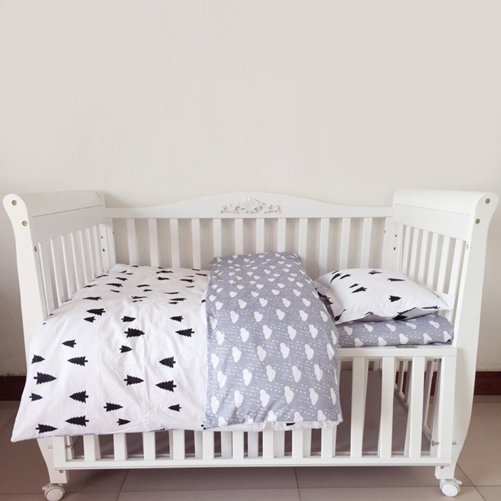 Children Baby Crib Bedding Set Cotton 3-Piece Black and White Forest Bed Sheet Quilt Cover Pillowcase Set with Safe Hidden Zipper cheerfulus