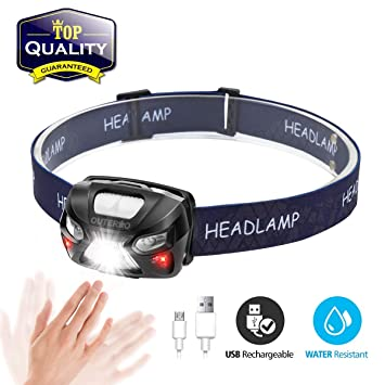 Head Torch,OUTERDO Sensor Headlamp (210LM 6 MODES) Head Lights LED USB  Rechargeable with Super Bright White Light & Warn Red Light for Reading,