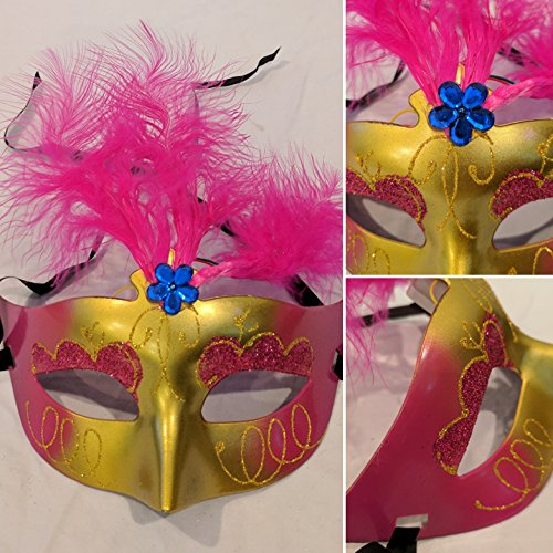 1 Pair LED Flashing Light Up Mardi Gras Masquerade Mask Party Glasses Costume (Dk Pink) ()