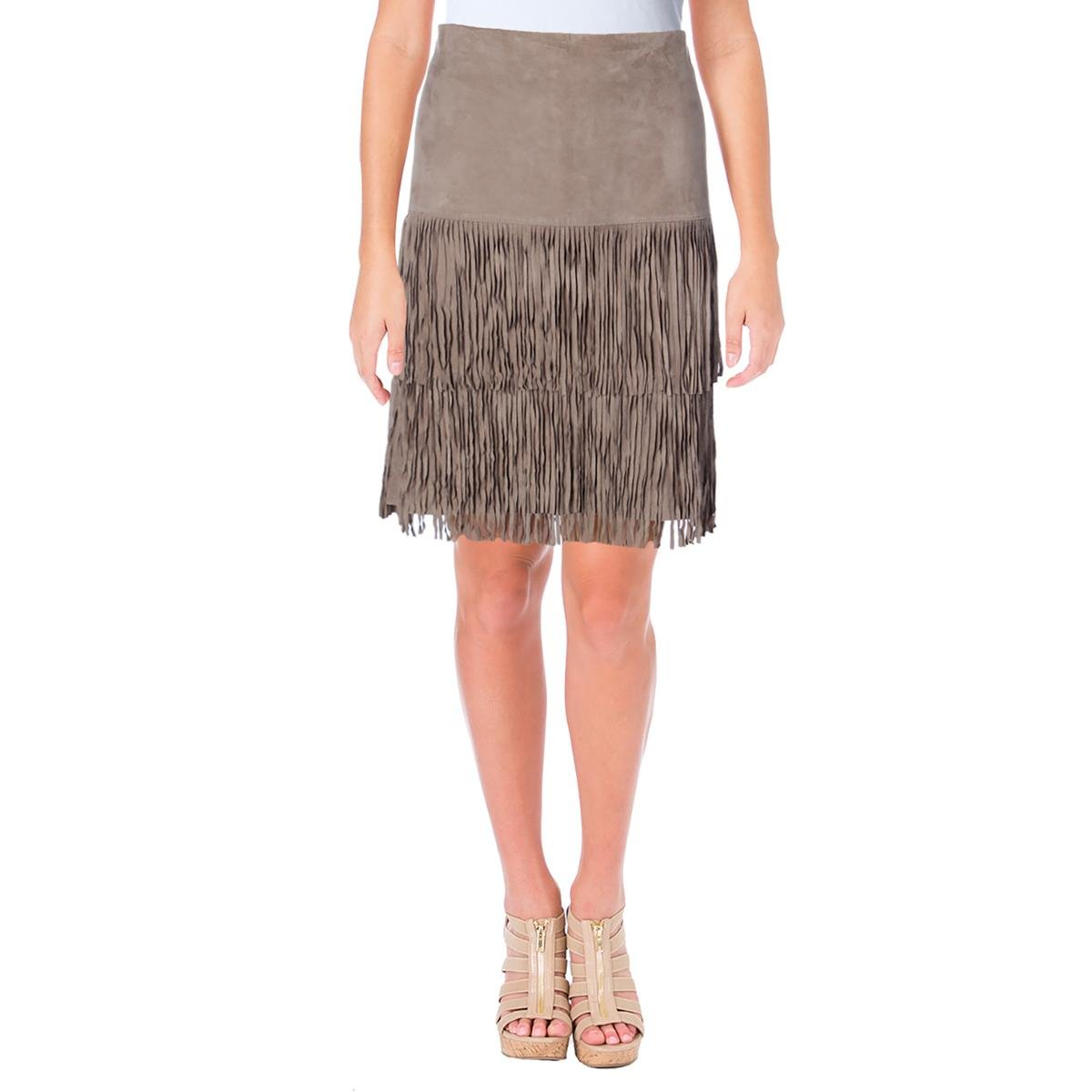 Lauren Ralph Lauren Womens Jacey Suede Tiered Straight Skirt Taupe 4
