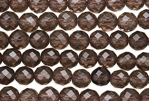1 Strand 15 1/2 Inch Smokey Quartz Faceted Round Gemstone Beads 8 mm