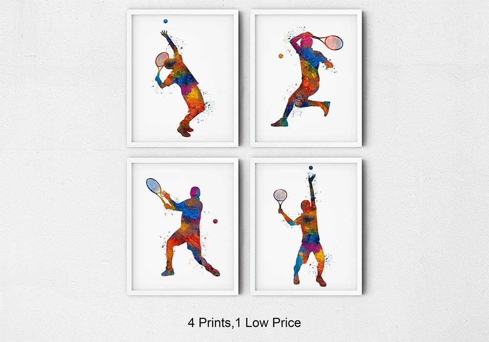 Amazon Com Male Tennis Player Sport Abstract Wall Art 8x10 Set Of 4 Ready To Frame Prints Ideal For Teen Boy Bedroom Club Locker Room Teachers Coaches And Fans Handmade