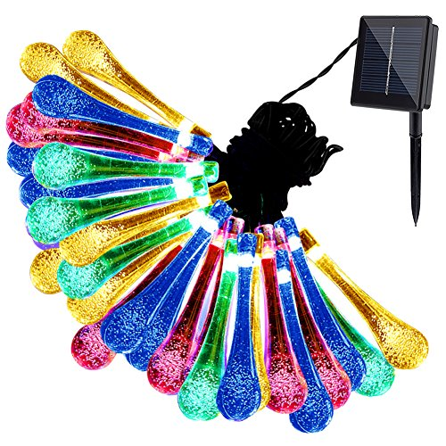 Solar Outdoor String Lights,URPOWER? 20ft 30 LED Water Drop Solar String Fairy Waterproof Lights Christmas Lights Solar Powered String lights for Garden, Patio, Yard, Home, Christmas Tree, Parties