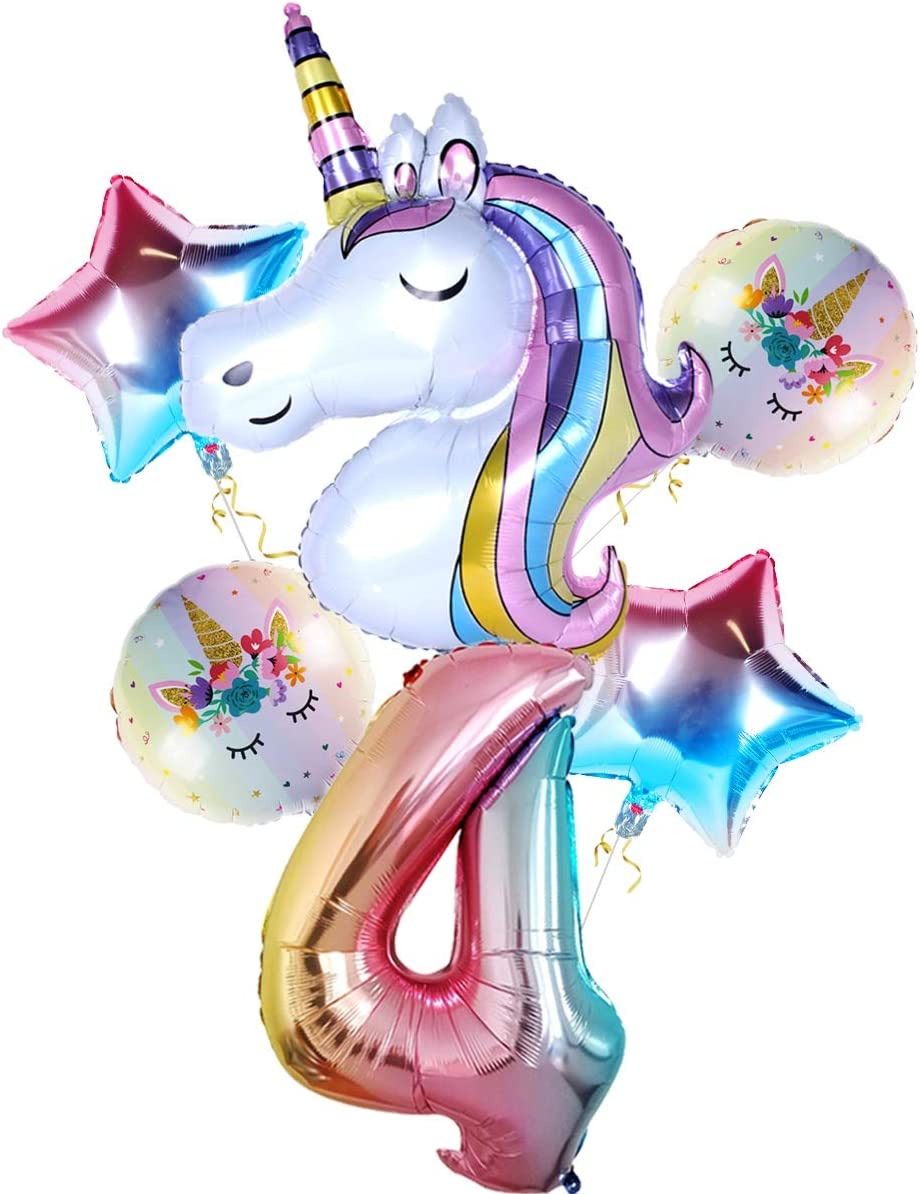 Pack of 7,Number 2 Birthday Balloon Unicorn Balloons Birthday Party Decorations Star and Round Unicorn Foil Balloons for Unicorn Party Supplies for 2nd Birthday Party for Girls Birthday Backdrop