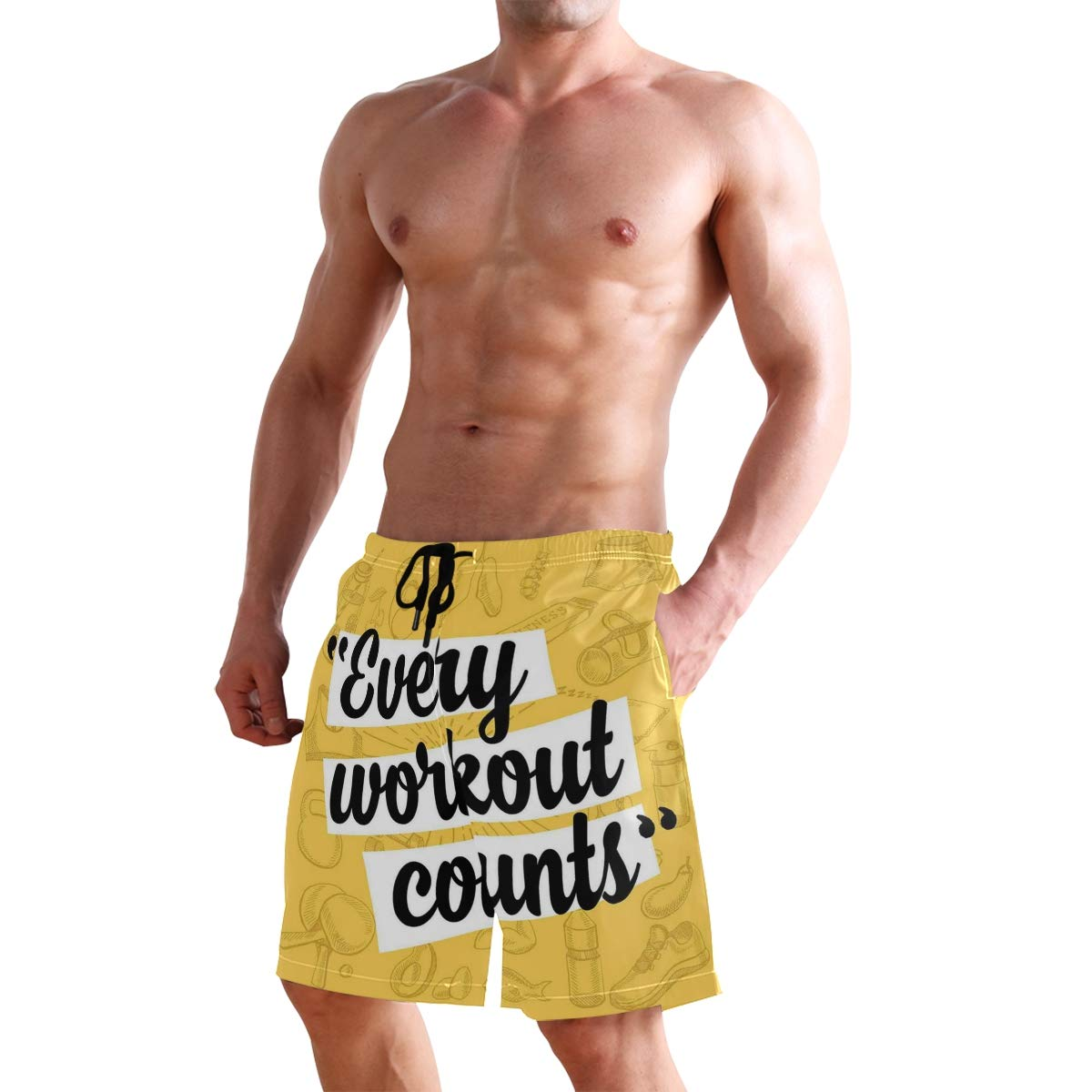 KVMV Every Workout Counts Lettering with Sketch Style Sports Elements 5size Beach Shorts