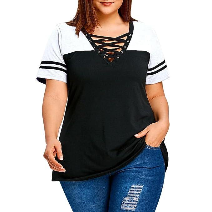 CICIYONER Camisa de tallas grandes, Blusa de patchwork cruzada Blusas de manga corta (Blanco