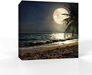 signwin - Canvas Wall Art - Moon Illuminating The Blue Ocean - Canvas Prints Home Artwork Decoration for Living Room,Bedroom - 24x24 inches