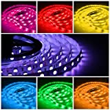 Quntis RGB LED Strip Light Kit, Outdoor 12V 16.4FT SMD 5050 300 LEDs Flexible String Lights Color Changing Decor Rope Lights with 44 Key Remote and Power Supply for Home Kitchen Garden Holiday