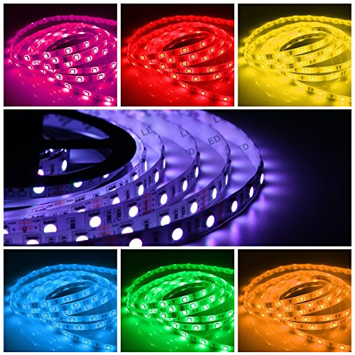 Quntis RGB LED Strip Light Kit, Outdoor 12V 16.4FT SMD 5050 300 LEDs Flexible String Lights Color Changing Decor Rope Lights 44 Key Remote Power Supply Home Kitchen Garden Holiday