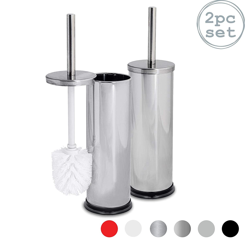 Pack de 2 Vaso escobillero Cuadrado Harbour Housewares Escobilla de ba/ño con Tapa Acabado Acero Cepillado