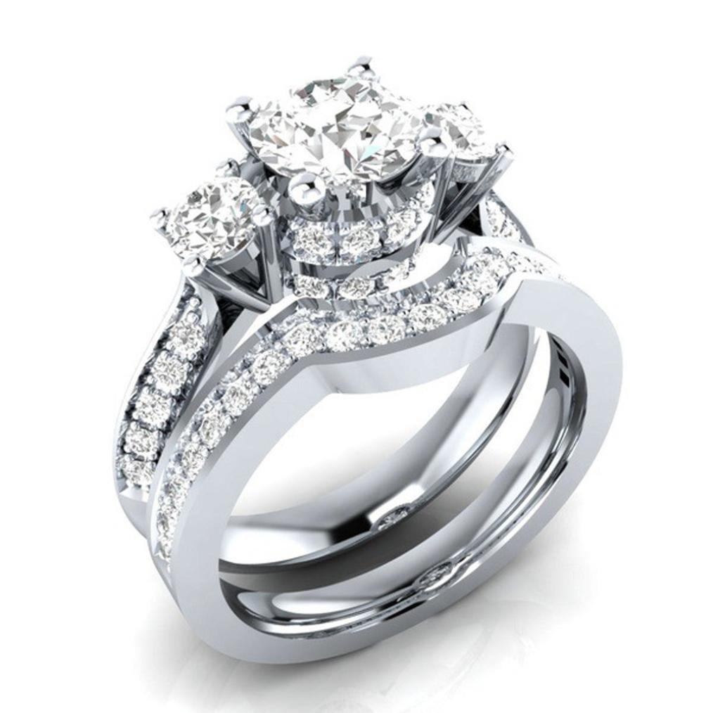 Challyhope 2-in-1 Fashion Brilliant Diamond Halo Ring Engagement Wedding Band Ring Creative Ring Set Accessories for Women Sliver A, 6