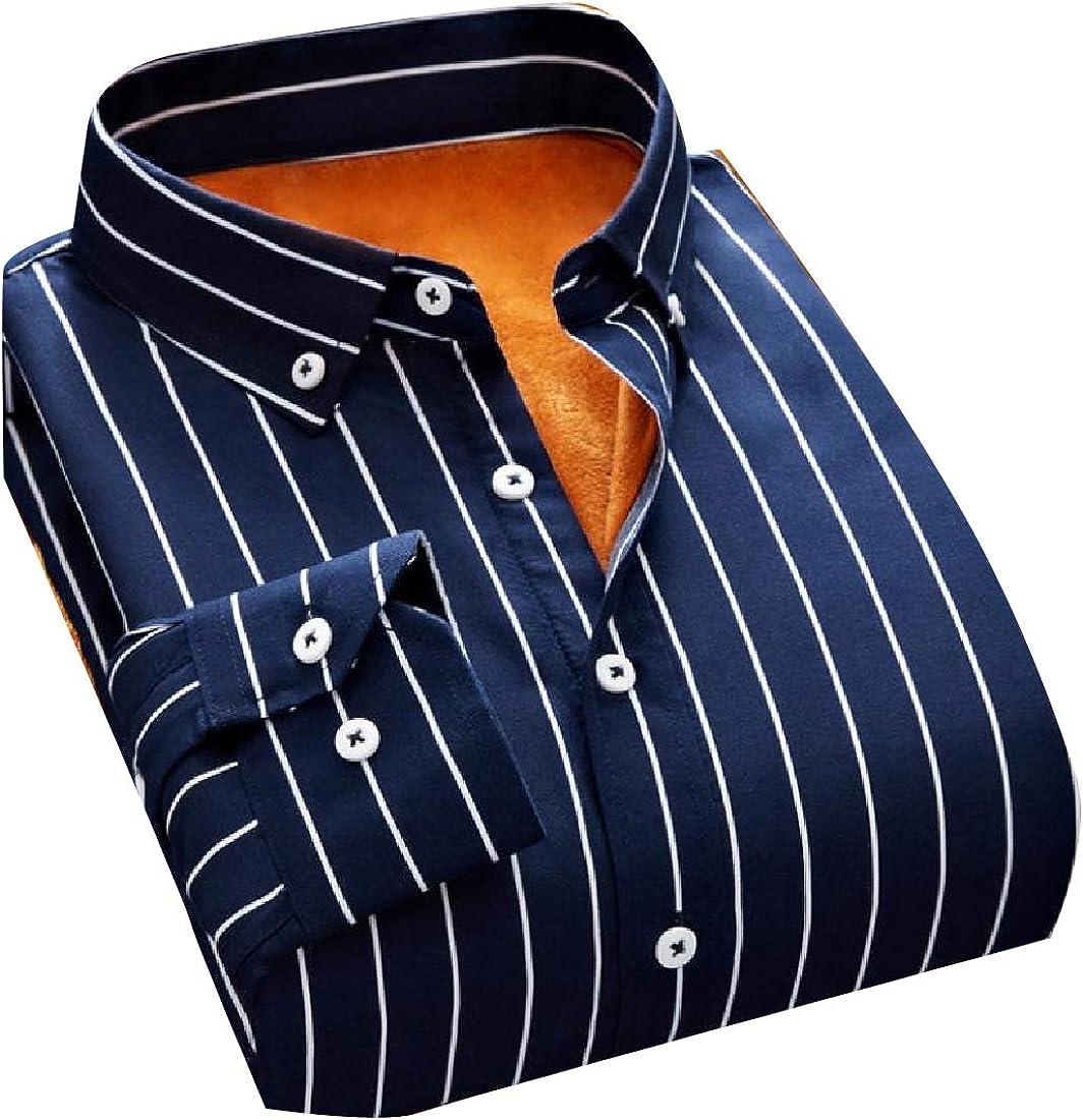 Comaba Men Velvet Lined Vertical Stripes No-Iron Button Down Shirt