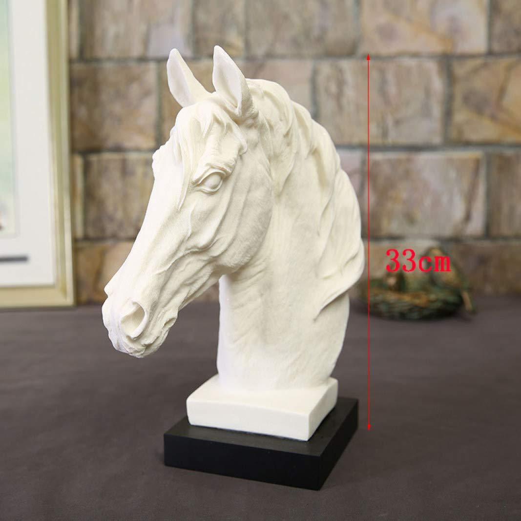 T/ête de Cheval Statue Sculpture Gr/ès R/ésine G/éom/étrique Ornements D/écoration De La Maison Accessoires Cadeau Blanc