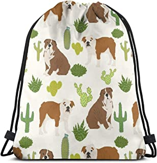 vintage cap English Bulldog Cactus Cute Cacti Dog Pet Dogs Cactus Pets English Bulldogs Bulldog_24718 3D Print Drawstring Backpack Rucksack Shoulder Bags Gym Bag for Adult 16.9'x14'