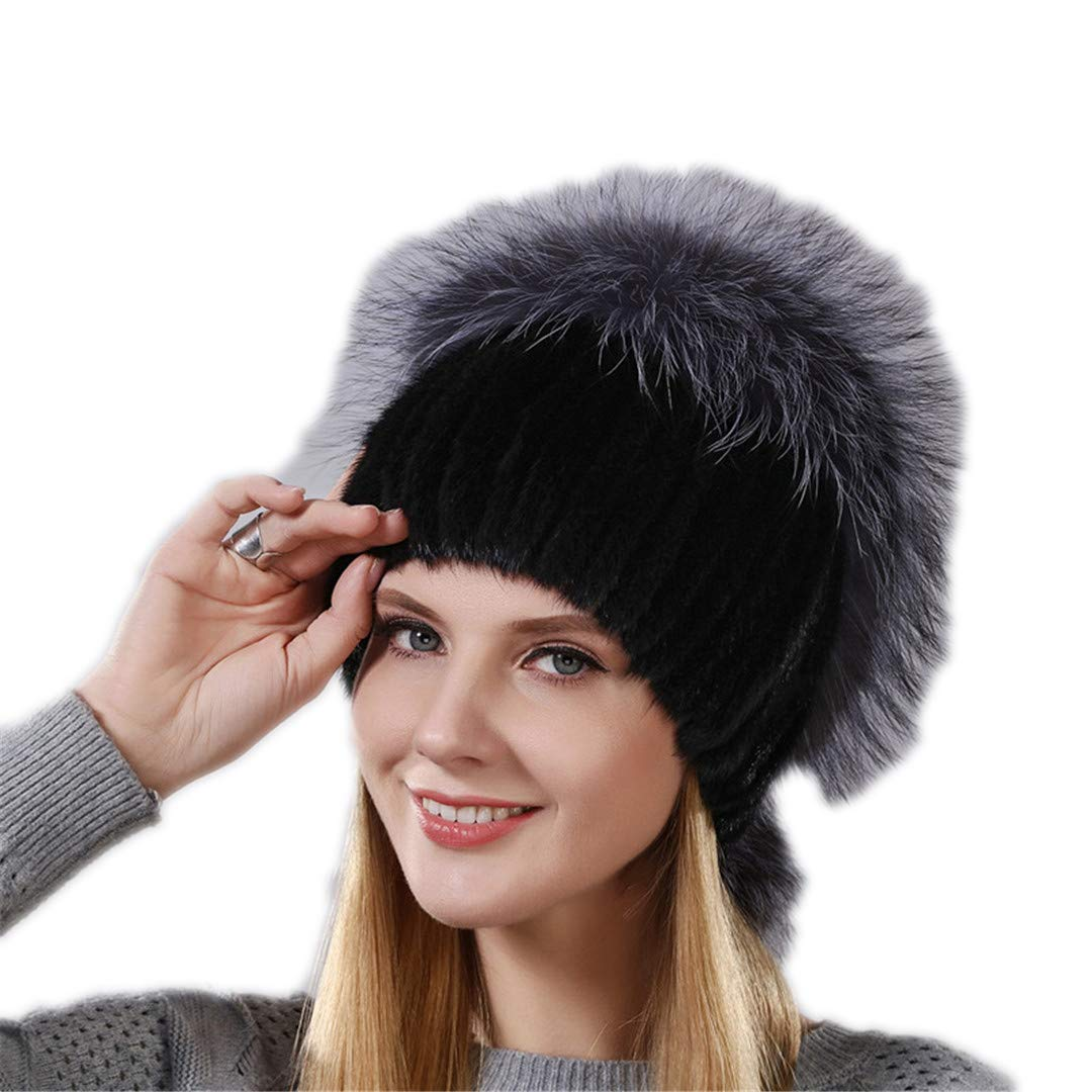 Design Hat Real Natural Mink Fur Hat With Silver Fox Fur Cap For Women With Hanging Chain In The Back Fur Balls 001