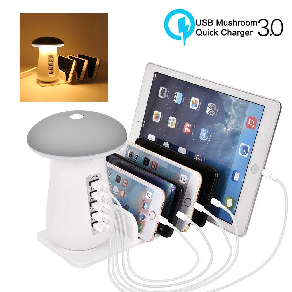 5-Port USB Multi Device Charging Dock Desktop Charging Stand with Mushroom LED Night Light for Kindle iPhone Apple Cell Phone and Android Devices-Warm White Tempo USB Charging Station