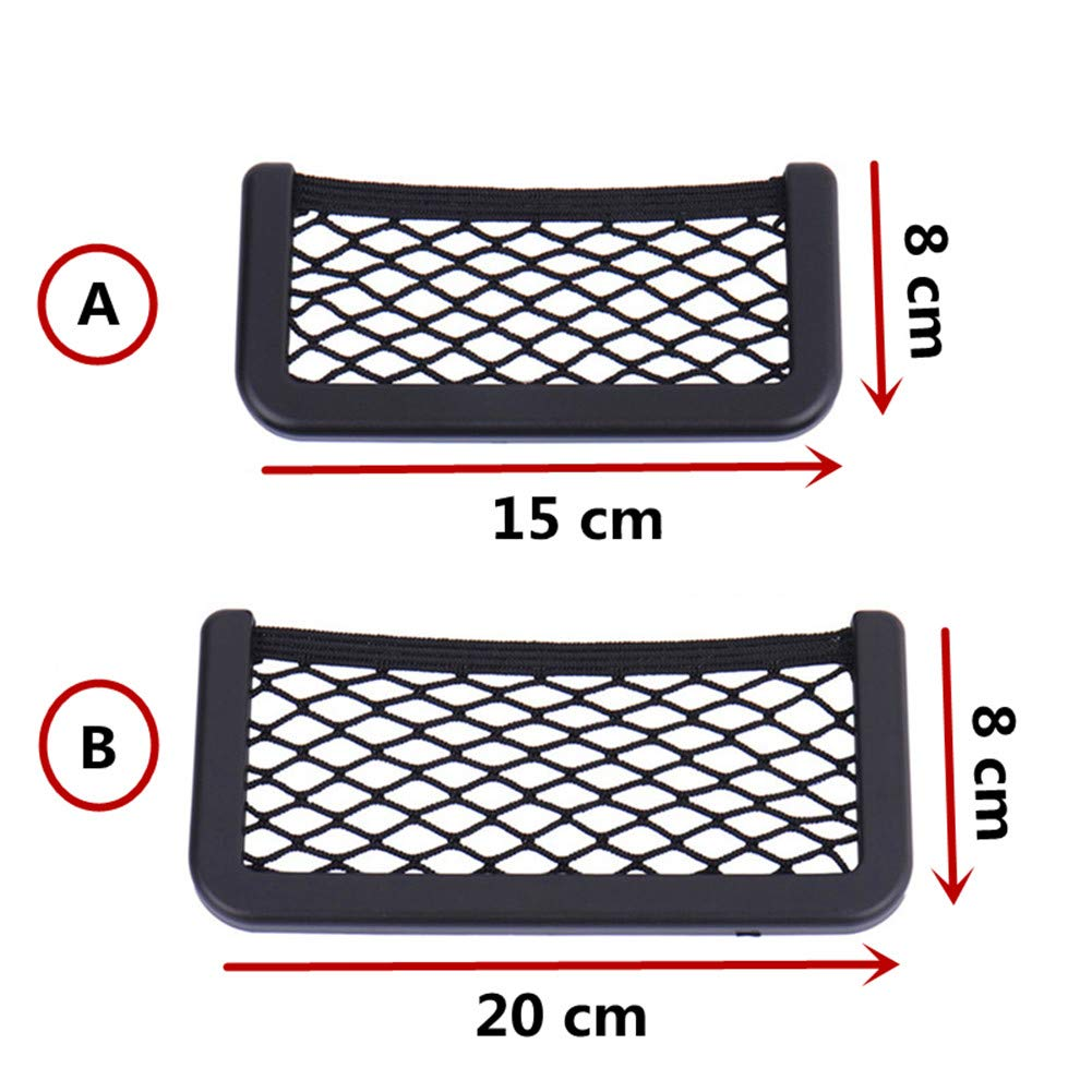 Happyit 2 Pcs Car Seat Side Back Storage Net Bag String Bag Mesh Pocket Organizer Stick-on for Wallet Phone Net Bag