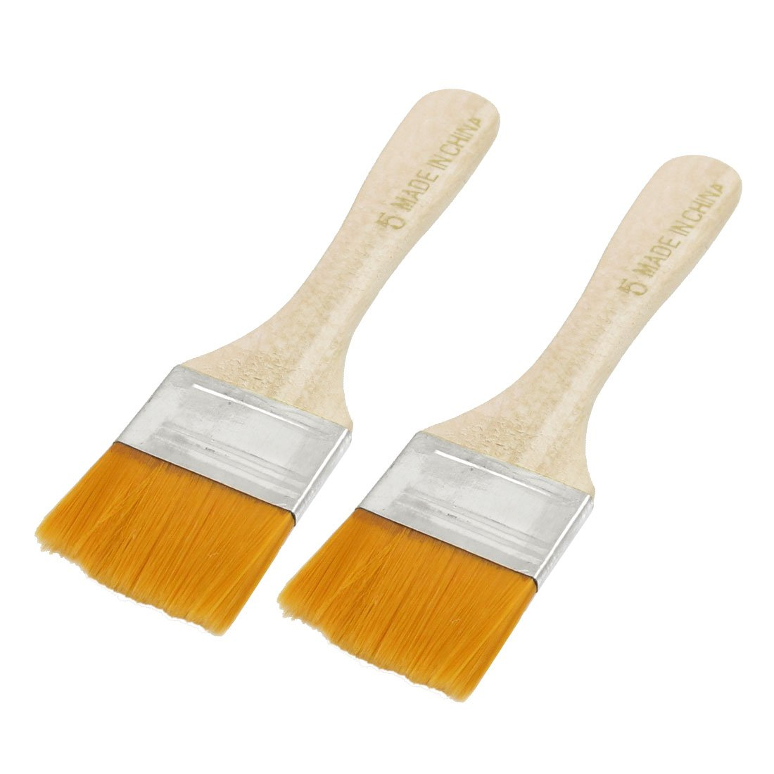 Uxcell Faux Fur Head Wood Handle Painting Brush, 1.6-Inch, 2 Pieces, Orange
