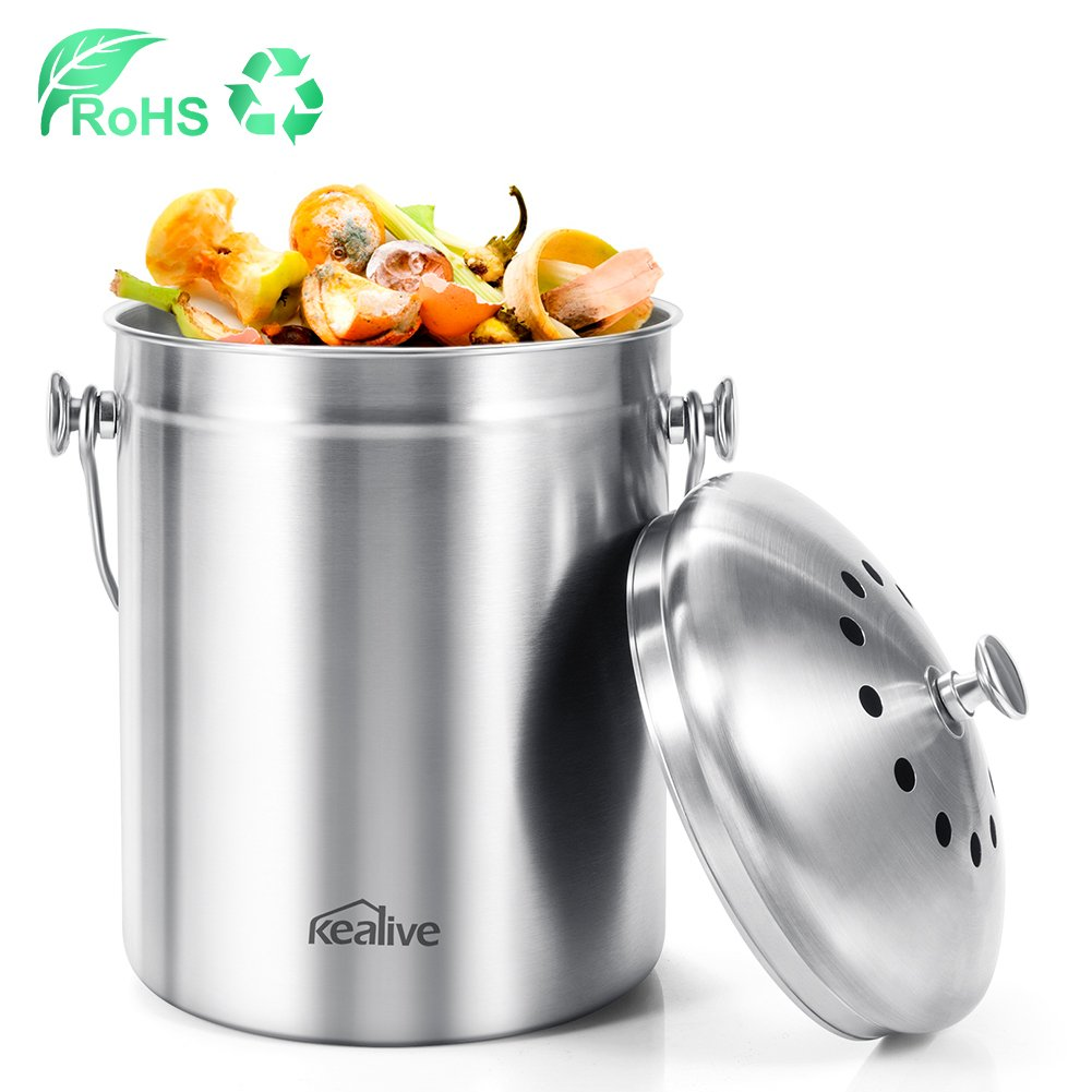 Kealive Compost Bin, Kitchen Compost Bin, Metal Compost Bin for Food Waste Recycling, Stainless Steel Compost Caddy Bin with Charcoal Filters, 6 Litre