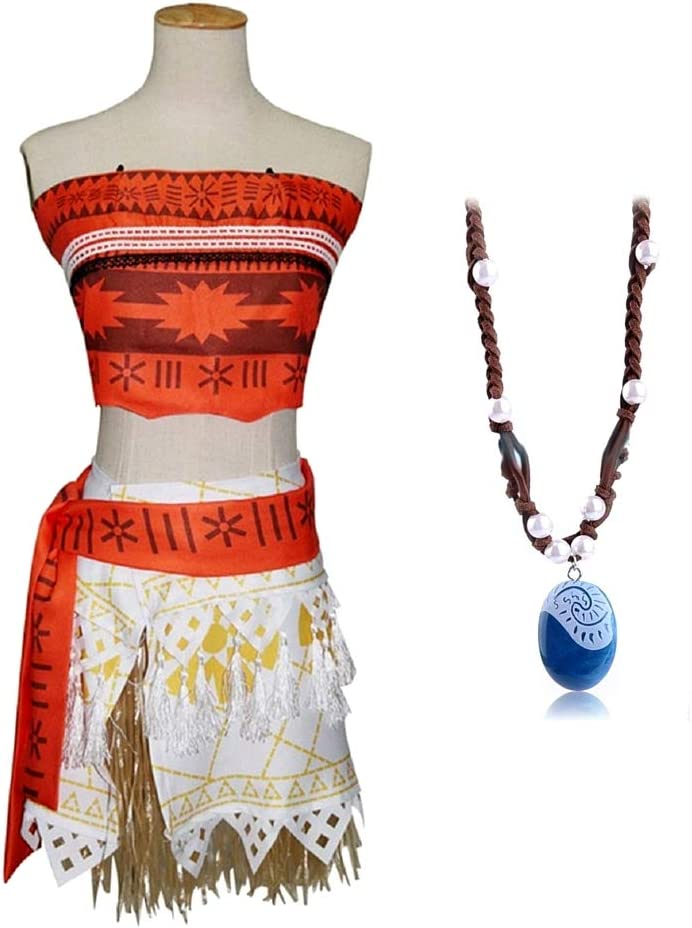 Disfraz de vaiana Moana - Completo - Incluye Collar de Moana - Mujer - Carnaval - Halloween - Disfraz - Cosplay - Adultos - Talla l - Idea de Regalo para Navidad y cumpleaños