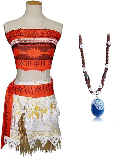 Disfraz de vaiana moana - completo - incluye collar - niña ...