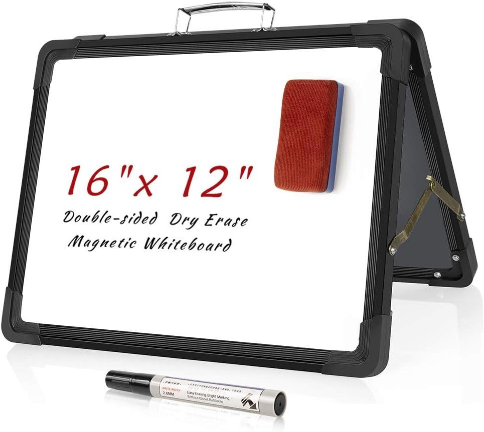 "Small Dry Erase Whiteboard,16X12""Upgrade Double-Sided Desktop Whiteboard for Teachers,Kids Portable Magnetic Table Top Easel,Black Frame,Protective Corner,Mini Whiteboard for Teaching,Learning (Black)"
