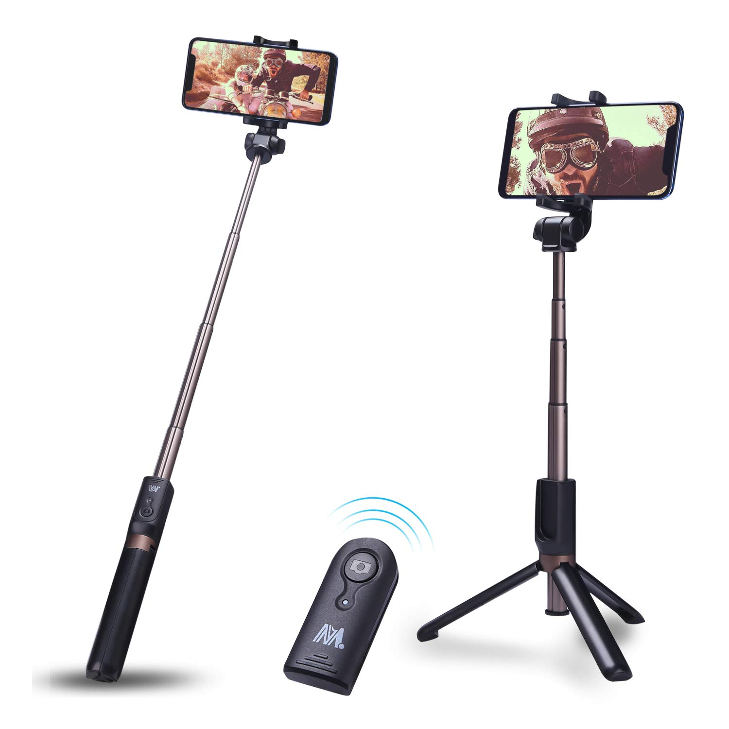 Selfie Stick Bluetooth, Yokkao Selfie Stick Tripod Extendable Foldable Wireless Detachable Remote Compact Portable for Most iOS/Android Smartphone
