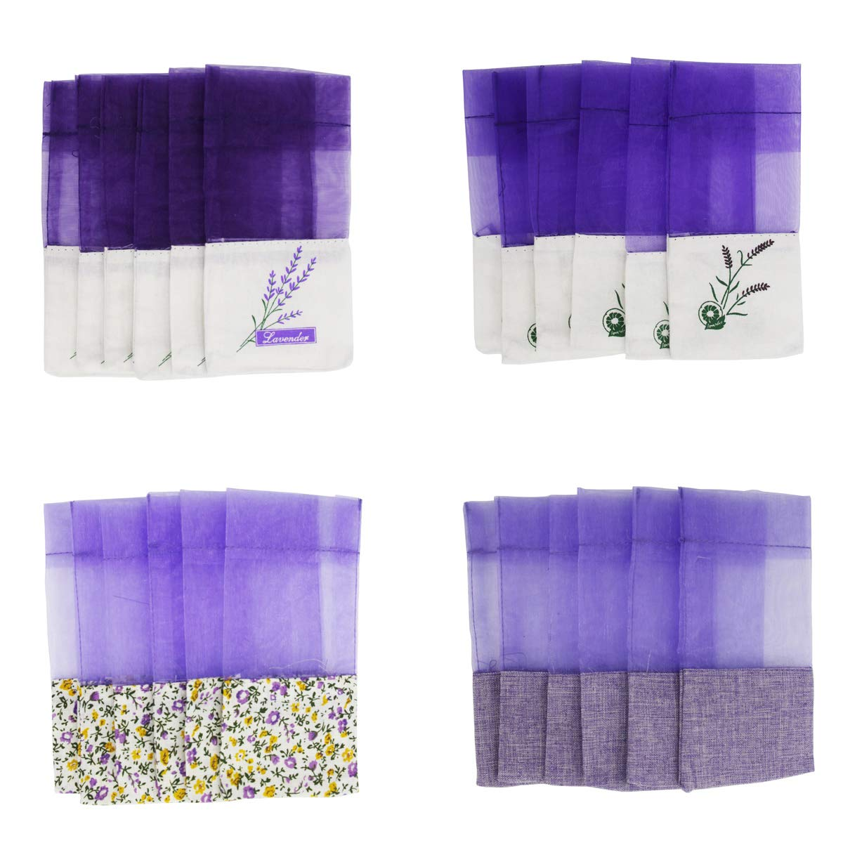 Lozom Sachet Empty Bags Purple Gauze Cotton-ramie Sacks Lavender, Spice Herbs (24pcs)