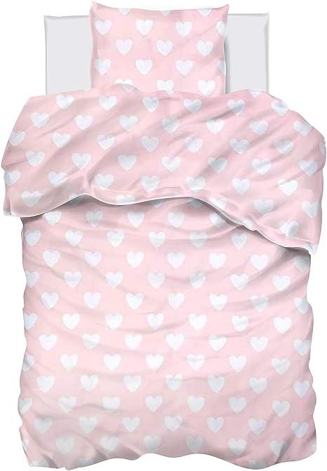 135x200 Mädchen Herz Kinder Bettwäsche Set Liebe Drucken Mikrofaser Bettbezug