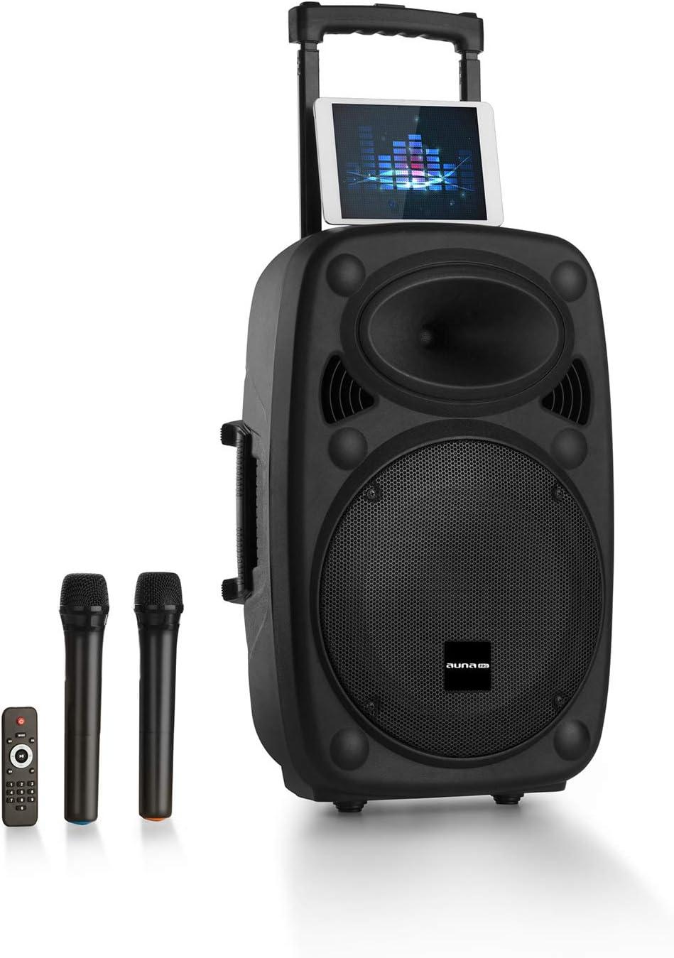 auna Streetstar 2.0 - Equipo PA portátil, Altavoz DJ, Bluetooth, Puerto USB, SD, MP3, AUX, Batería 3 Ah, LED, 2 micrófonos UHF, Mando a Distancia, Subwoofer 15
